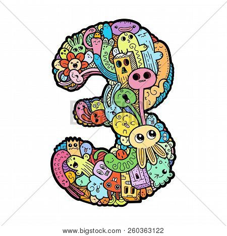 Number Three. Hand Drawn Doodled Kids Numbers. Cute Monstred Numbers, Math Symbols. Vector Illustrat