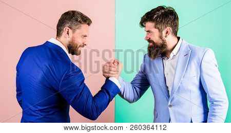 Business Partners Competitors Office Colleagues Tense Faces Ready To Compete In Arm Wrestling. Busin