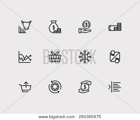 Finance Trading Icons Set. Invest Money And Finance Trading Icons With Margin, Bull Market And Autho