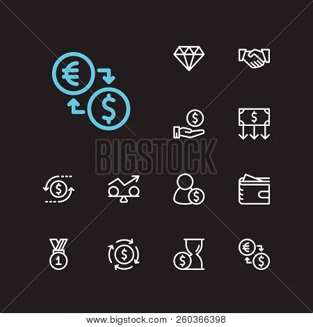 Economy Icons Set. Time Money And Economy Icons With Money Flow, Return On Investment And Winner. Se