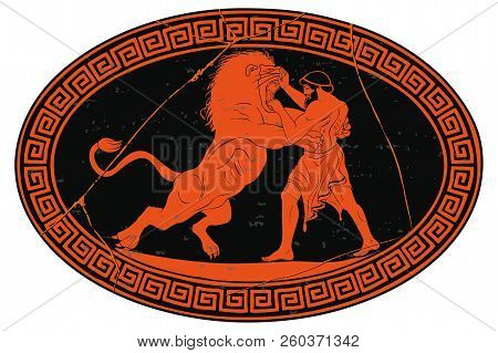 Hercules Defeats The Nemean Lion. 12 Exploits Of Hercules. Oval Medallion Isolated On A White Backgr