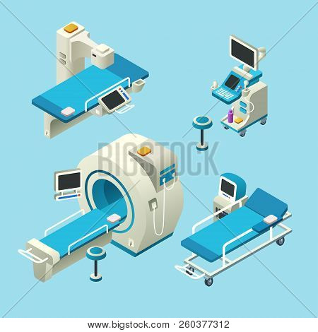 Isometric Medical Diagnostic Equipment Set. 3d Illustration Computer Tomography Ct, Magnetic Resonan
