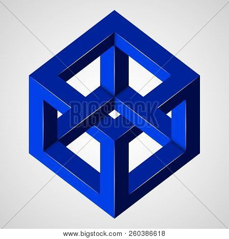 Blue Paradox Cube. Penrose Figure. Pure Vector Illustration On Gray Background