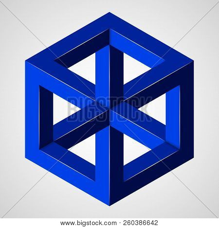 Blue Geometric Penrose Figure - Paradox Cube. Pure Vector Illustration On Gray Background