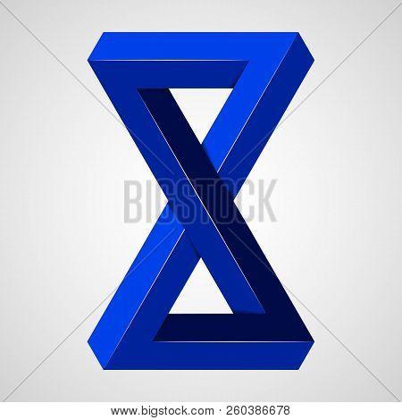 Blue Geometric Paradox Penrose Figure. Pure Vector Illustration On Gray Background
