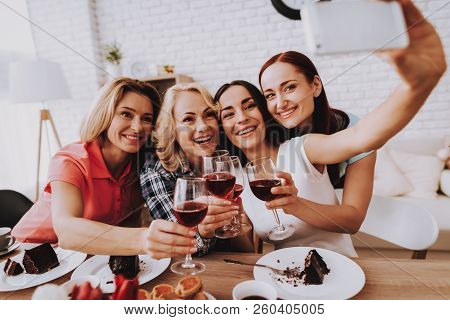 Smile Girl Selfie With Friends. Cake And Wine. Happy Day 8 March. Lady Drinking Wine. Lady And Sprin