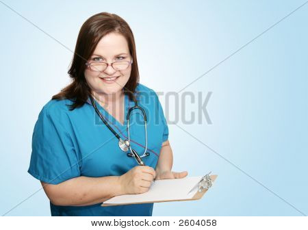 Nurse With Clipboard On Blue