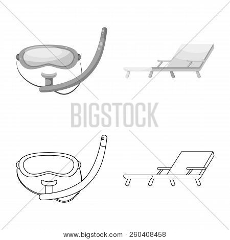 Vector Illustration Of Pool And Swimming Symbol. Set Of Pool And Activity Stock Vector Illustration.