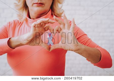 Beautiful Pink Blouse And Heart. Support And Help Time. Sustenance For All People Who Have Cancer. M
