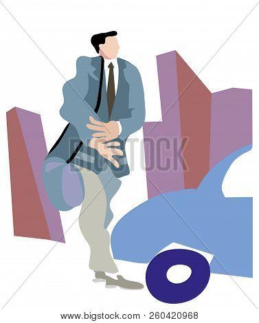 Man Walking In The City.  Businessman Walking In The City. Young Man Walking In The Street.