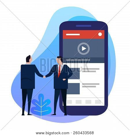Business Man Hand Shaking Deal Agreement. Video Content Creator On Smart Phone. Digital Information.