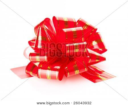 Red bow. Isolated on the white background