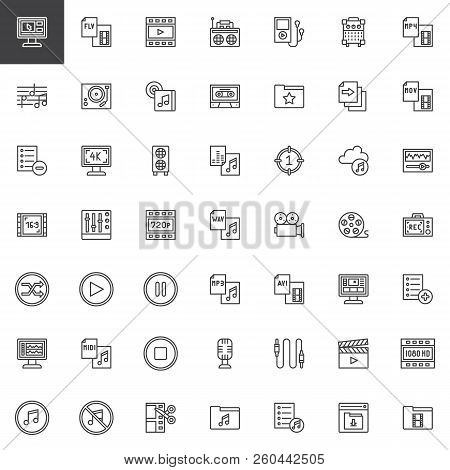 Audio And Video Outline Icons Set. Linear Style Symbols Collection Line Signs Pack. Vector Graphics.