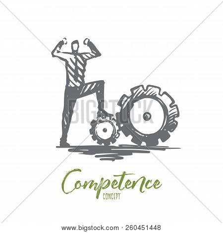 Competence, Businessman, Work, Successful Concept. Hand Drawn Successful Businessman Standing On Gea