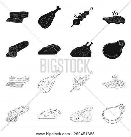 Vector Design Of Meat And Ham Icon. Set Of Meat And Cooking Stock Vector Illustration.