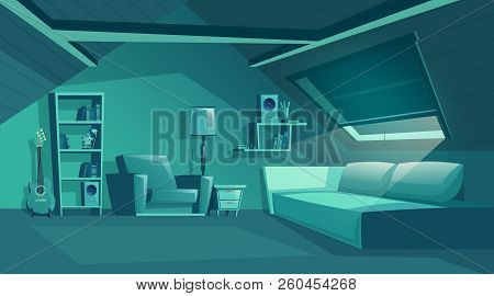 Vector Attic Interior At Night, Cartoon Room With Furniture, Sofa With Pillows. Cozy Room In Moonlig
