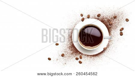 Black Coffee, Coffee Beans And Coffee Powder On White Background