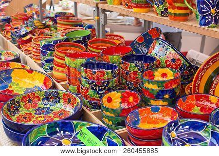 Mallorca, Spain - September 5, 2018: Mallorquin Stoneware In Colorful Designs In The Sineu Market On