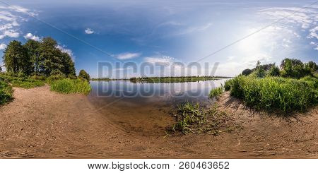 Full Seamless Spherical Panorama 360 By 180 Degrees Angle View On The Shore Of Width River Neman In