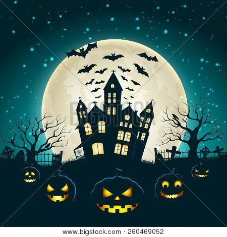 Halloween Party Poster With Silhouette Of Castle At Glowing Moon Background And Dead Trees Near Ceme
