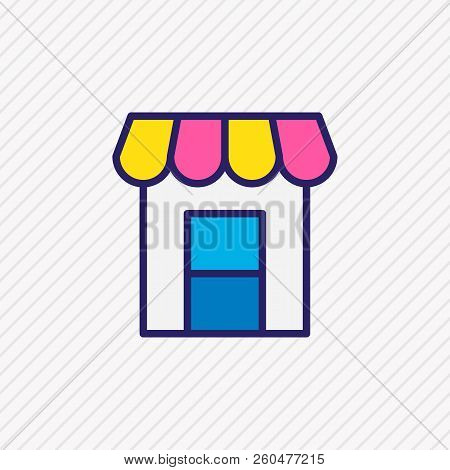 Illustration Of Storefront Icon Colored Line. Beautiful City Element Also Can Be Used As Shop Icon E