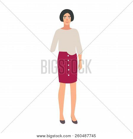 Pretty Girl With Amputated Arm Isolated On White Background. Smiling Amputee Or Disabled Person. Hap