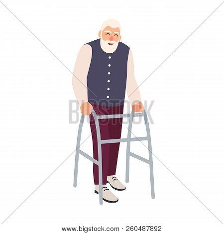 Joyful Elderly Man With Walking Frame Or Walker Isolated On White Background. Old Bearded Male Chara