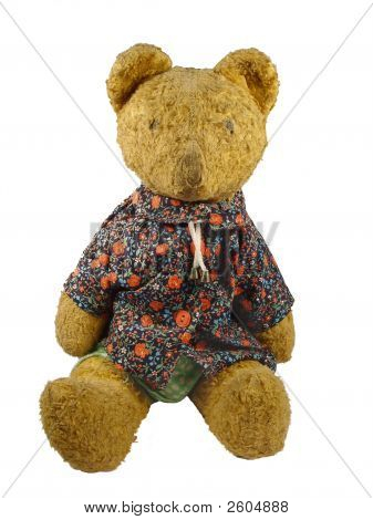 Juguete antiguo - oso de peluche A una camisa