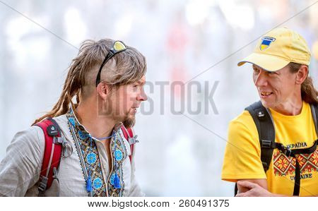 Kharkiv, Ukraine - 17 May 2018 : Men in ukrainian national shirt and T shirt talking on the embroidered shirt holiday in Kharkiv
