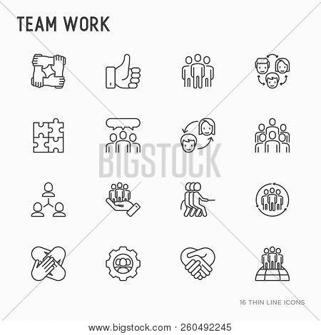 Teamwork Thin Line Icons Set: Group Of People, Mutual Assistance, Meeting, Handshake, Tug-of-war, Co