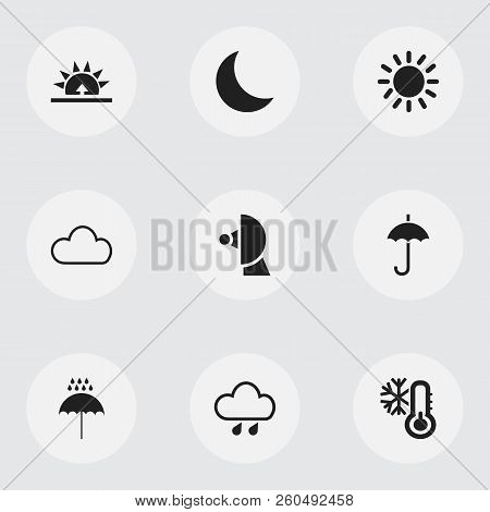 Set Of 9 Editable Climate Icons. Includes Symbols Such As Deluge, Heat, Umbrella And More. Can Be Us