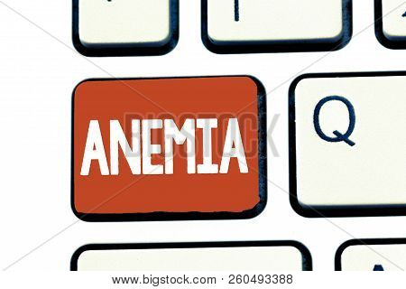 Writing note showing Anemia. Business photo showcasing condition where there deficiency of red cells of haemoglobin in blood poster