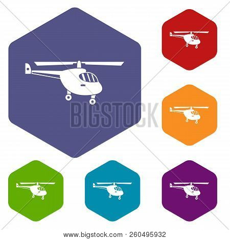 Helicopter icons set rhombus in different colors isolated on white background poster