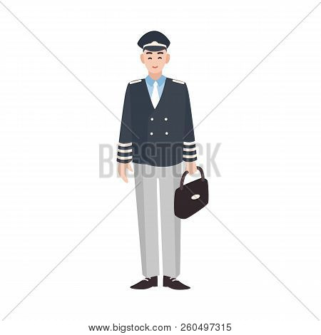 Smiling civilian aircraft pilot, aircrew captain, aviator or airman dressed in uniform. Cheerful male cartoon character isolated on white background. Colorful vector illustration in flat style. poster