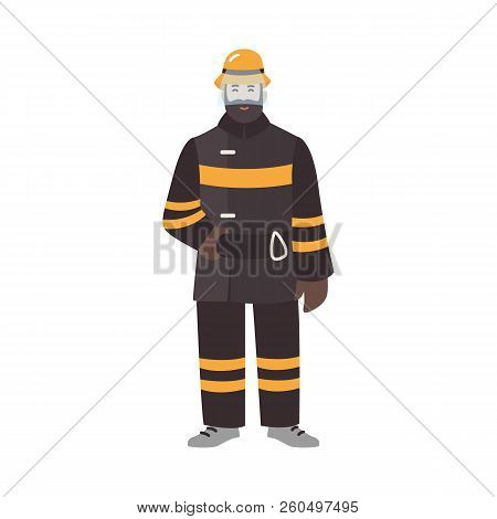 Firefighter, Fireman Or Rescuer Wearing Fireproof Protective Clothes Or Uniform And Helmet. Funny Ma
