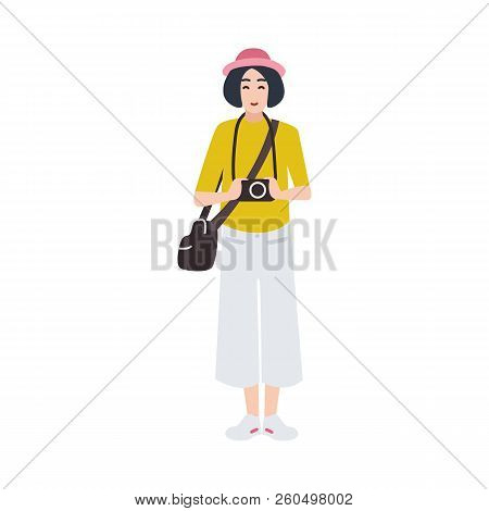 Woman Photographer Holding Photo Camera And Photographing. Creative Profession Or Occupation. Cute F