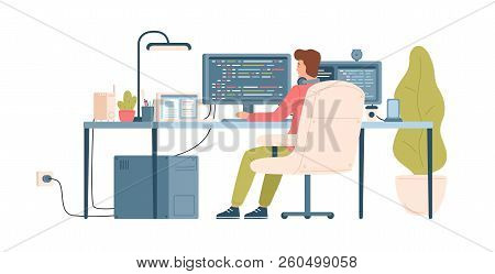 Programmer, Coder, Web Developer Or Software Engineer Sitting At Desk And Working On Computer Or Pro