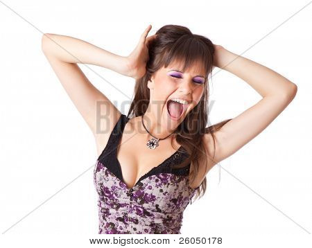 Screaming woman. Isolated over white background.