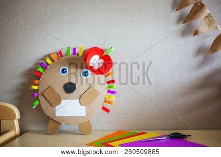 Creative Children's Crafts Made Of Colored Paper And Cardboard. Concept Ideas Handmade For Kindergar