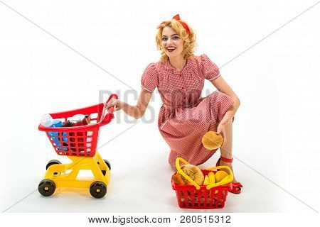 Savings On Purchase. Retro Happy Woman Go Shopping. Happy Woman In Shop. Shopping Girl With Full Car