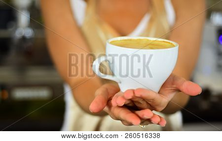 Barista Propose Americano Or Espresso Coffee Cup. Perfect Morning With Best Coffee. Relax In Cafe Or