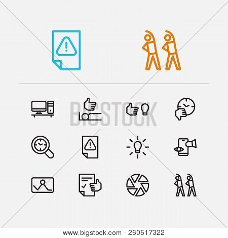 Work Icons Set. Exercise And Work Icons With Inspiriting Idea, Urgent Task And Drop In Productivity.