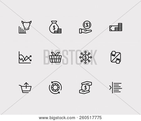 Trading Icons Set. Invest Money And Trading Icons With Margin, Bull Market And Authorized Shares. Se