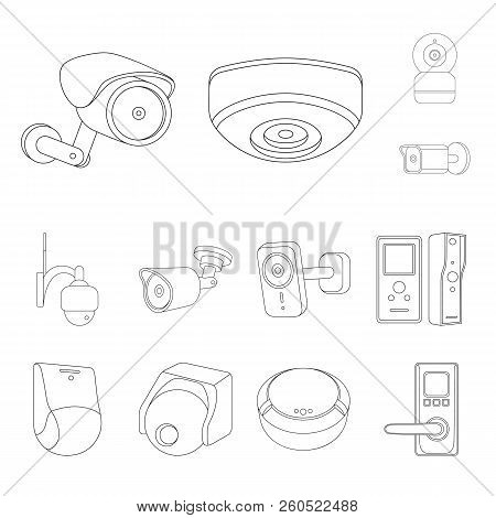 Vector Illustration Of Cctv And Camera Symbol. Set Of Cctv And System Stock Symbol For Web.