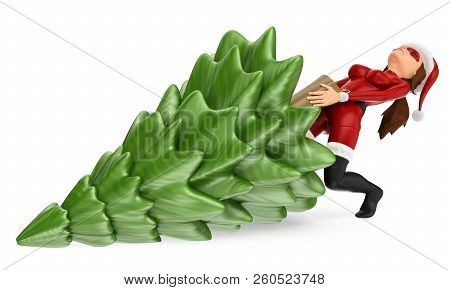 3d Christmas People Illustration. Woman Superhero Pulling A Fir Tree. Isolated White Background