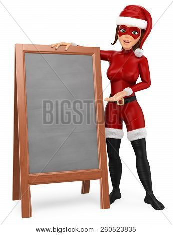 3d Christmas People Illustration. Woman Superhero Standing With A Blank Chalkboard. Isolated White B