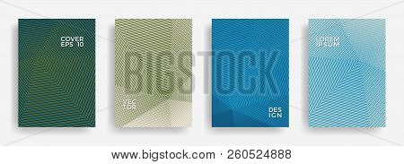 Dynamic Annual Report Design Vector Collection. Halftone Stripes Texture Cover Page Layout Templates