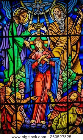 Mother Mary - Stained Glass In Ponte De Lima