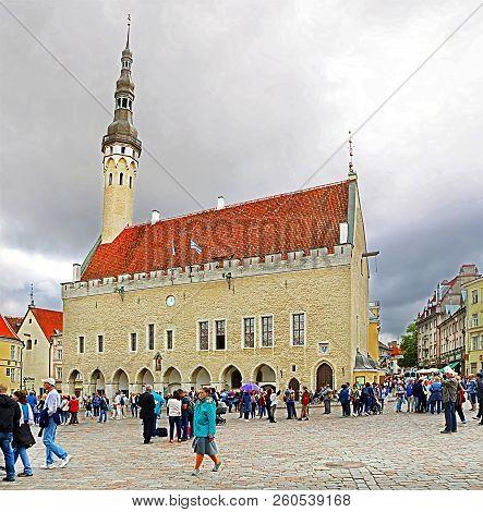 Tallinn, Estonia - August 30, 2018: The Tallinn Town Hall In The Tallinn Old Town, Estonia, Next To