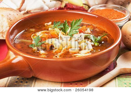 Thick vegetarian minestrone soup with noodle and vegetables